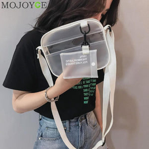 Summer 2 In 1 Bag Women Zipper Bags Designer 2018 Newest PVC Jelly Shoulder Bag Female White Transparent Messenger Handbag Girls