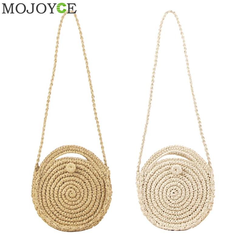 Women Woven Round Rattan Mini Straw Bag Bali Bohemian Beach Circle Handbag Summer Handmade Retro Knitted Messenger Bags 2018
