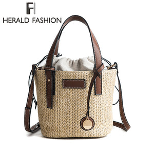 Herald Fashion Female Bucket Cylindrical Straw Bags Summer Beach Bags Wheat-straw Woven Women Crossbody Bags Shoulder Tote Bag