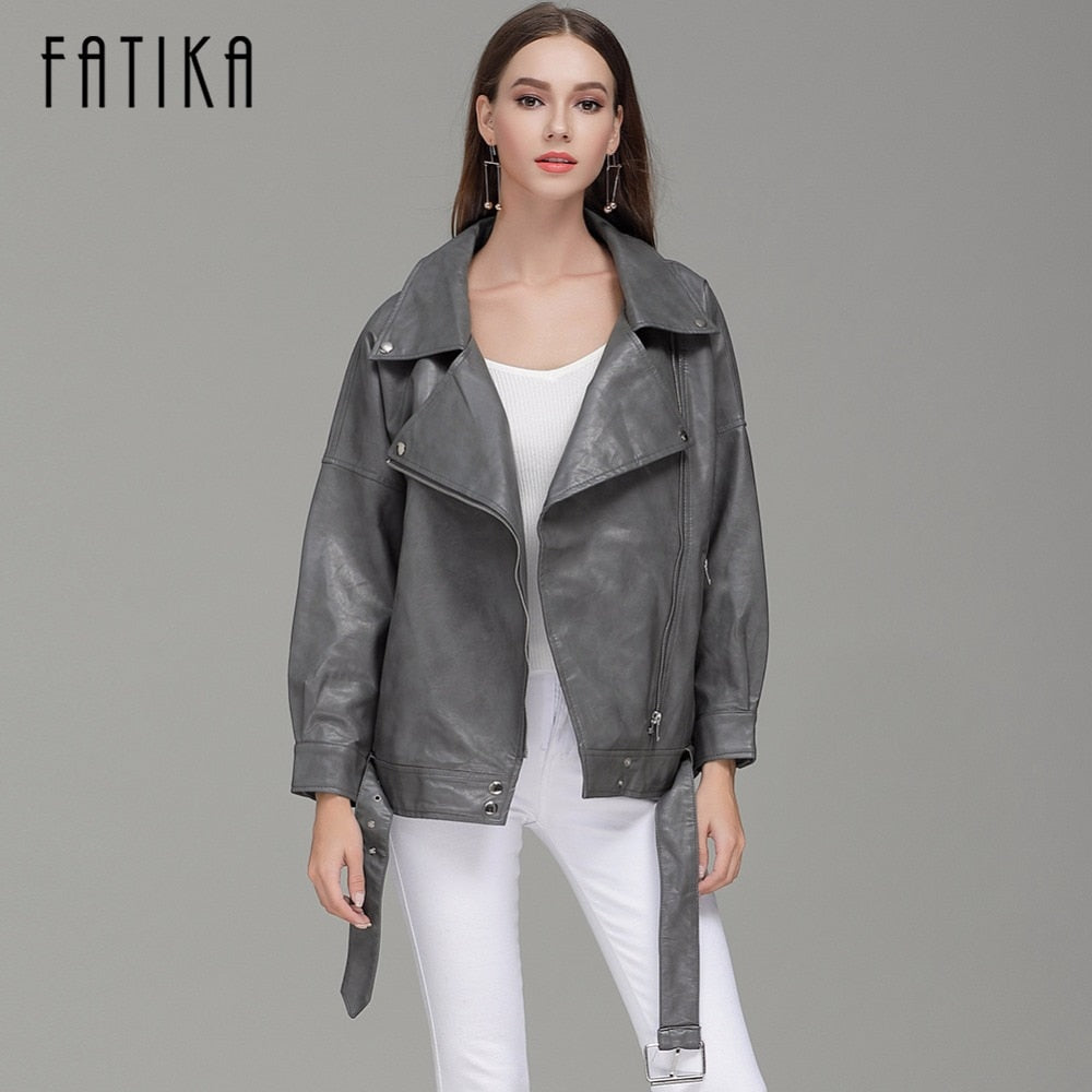 Autumn Winter Fashion Women Faux Leather Motorcycle Jacket