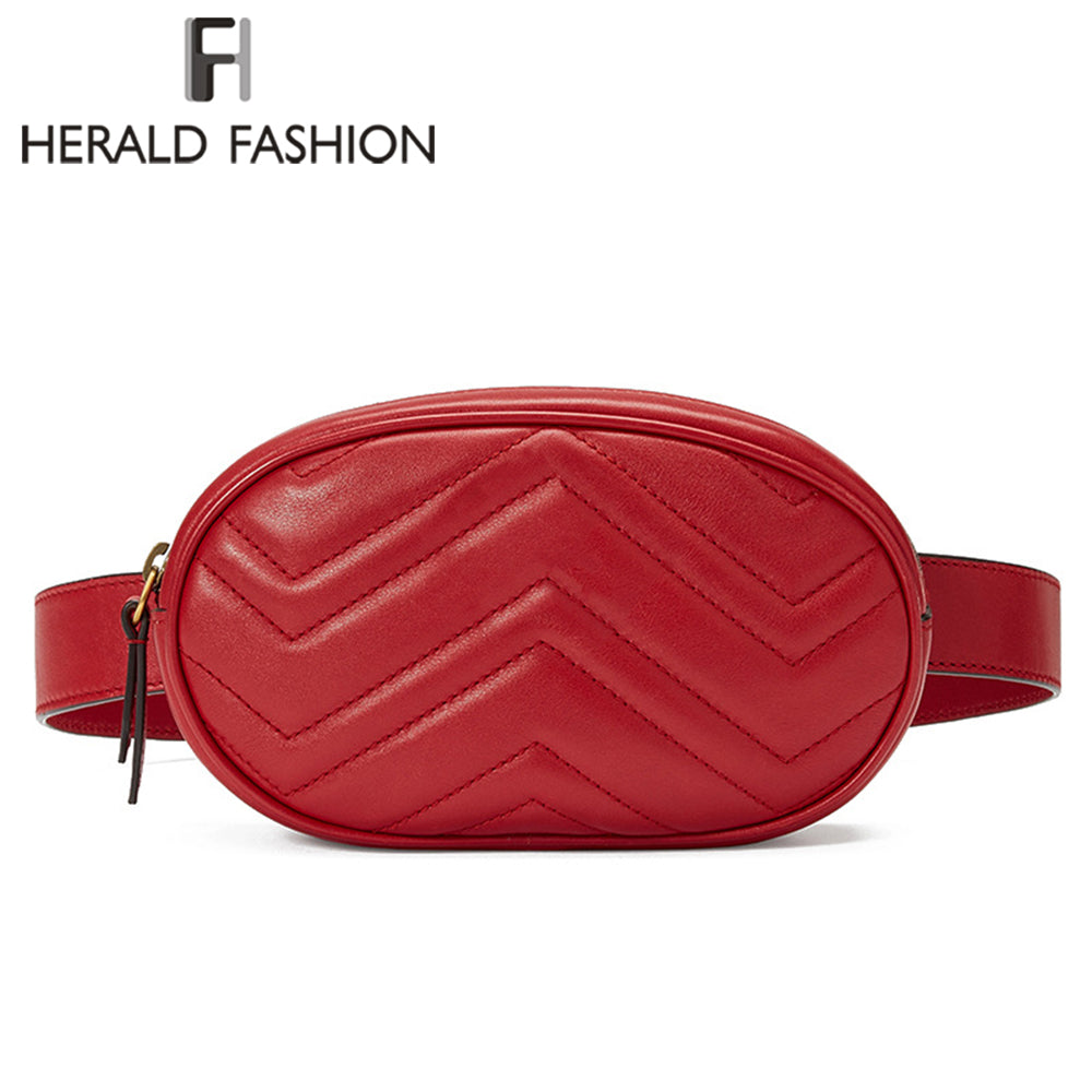 Herald Fashion Waist Bag Women Waist Fanny Packs Belt Bag Luxury Brand PU Leather Chest Bag Red Black Color 2018 New Arrival