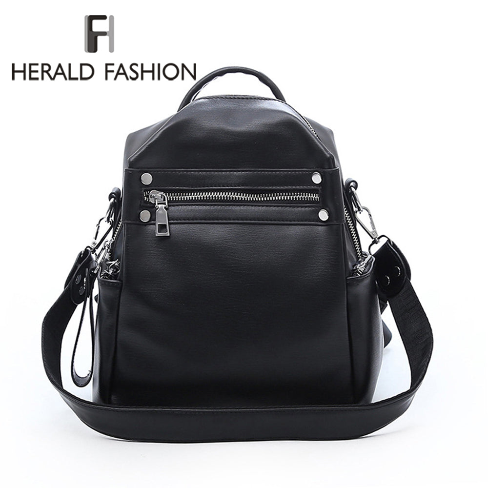 Herald Fashion Women Backpack Leather Retro Female bag schoolbags Teenage Girl High Quality Travel books Rucksack Shoulder Bags