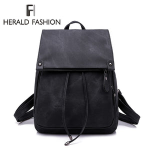 Herald Fashion PU Leather Backpack Women Backpacks For Teenage Girls School Bags Summer Brand Vintage Backpack Mochilas Escolar