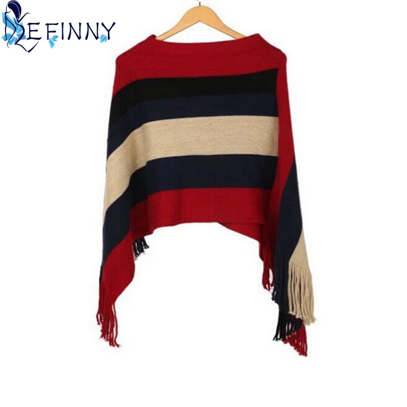 Autumn Winter Cotton Blends Sexy Women Tassel Knitted Sweater Poncho Striped V neck Irregular Hem Casual Loose Pullover Jumper