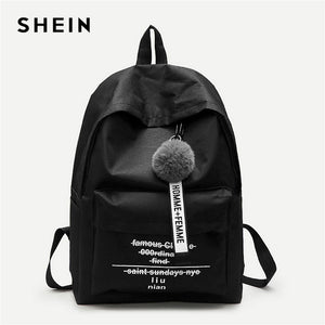 SHEIN Black Pom Pom Decor Backpack Modern Lady Detail Zipper Cute Bags Women Letter Print New Fashion Backpacks