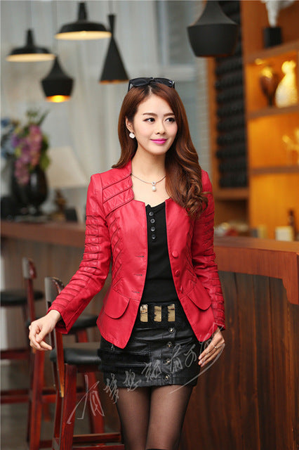 New Spring Autumn Women Faux Leather Jacket