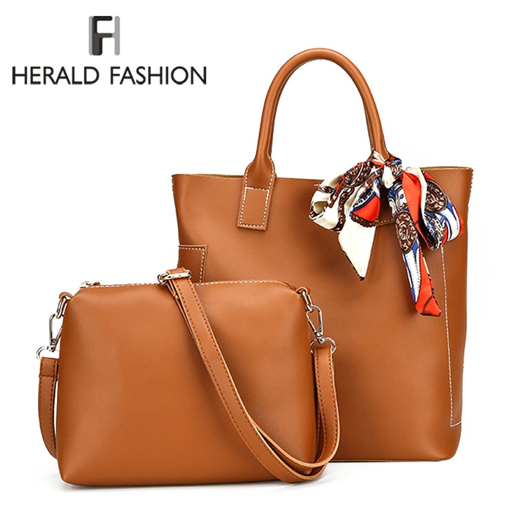 Herald Fashion Women Bag Scarf Handbags Ladies Composite Bag PU Leather Shoulder Bags Brand Designer Casual Large Tote Bag Bolso