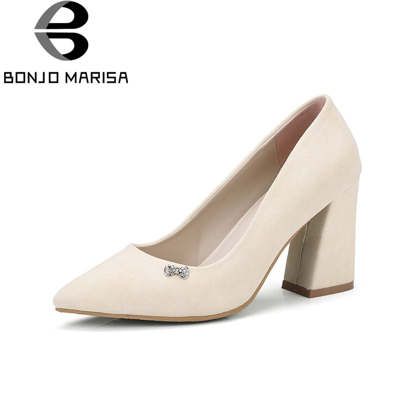BONJOMARISA [Big Size] Square High Heel Party Wedding Office Shoes