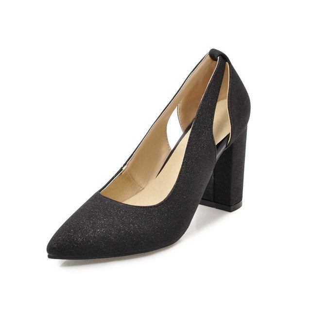 BONJOMARISA [Big Size] Women's Synthetic Sexy Pointed Toe Chunky High Heels Office Shoes