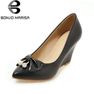 BONJOMARISA [Big Size] Rhinestone Bowtie High Heel Wedge  Office Shoes