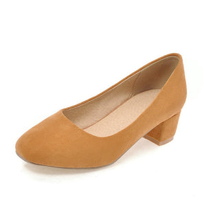 BONJOMARISA Women's [Big Size] Vintage Chunky Heel Office Slip On Shoes