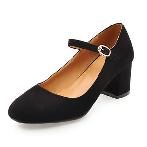 BONJOMARISA [Big Size] Women's Nubuck Mary Jane Shoes
