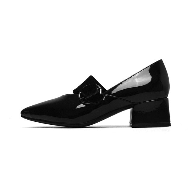 BONJOMARISA [Big Size] Genuine Leather Women's Buckle Strap Patent Leather Office Lady Shoes