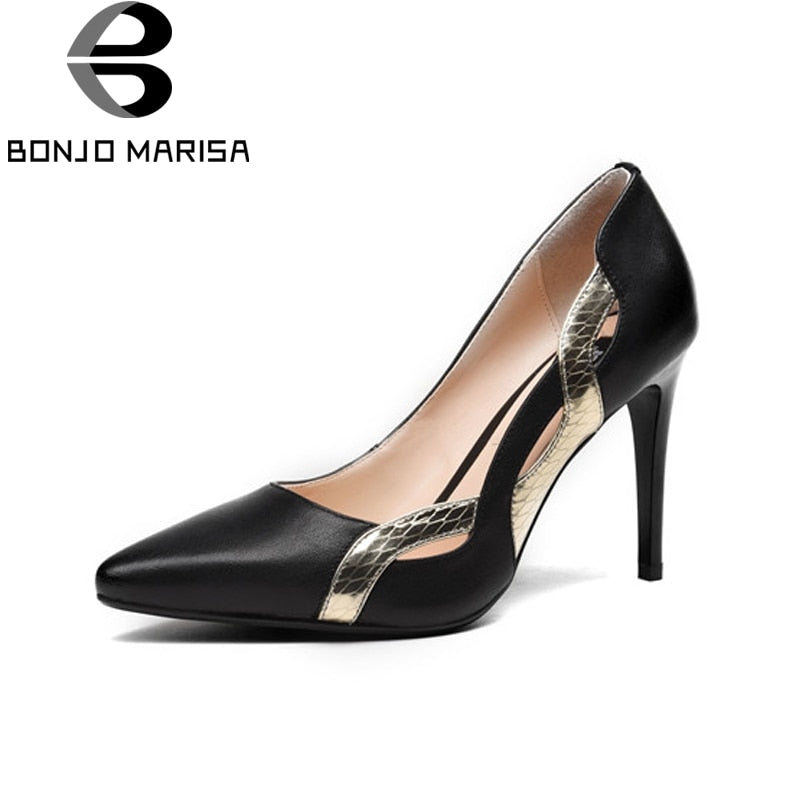 BONJOMARISA Genuine Leather Thin High Heels Solid Shallow More Colors Shoes