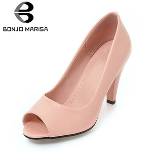BONJOMARISA [Big Size] Elegant High Heels Leisure Party Office Lady Shoes
