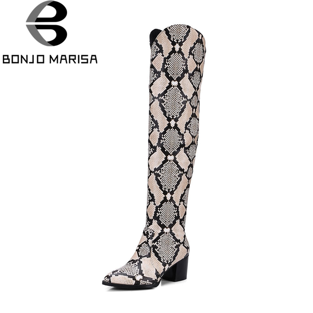 BONJOMARISA Fashion Western Knight Boots women's Over Knee Thigh High Boots Women slip-on Heels Shoes Woman Plus Size 32-48