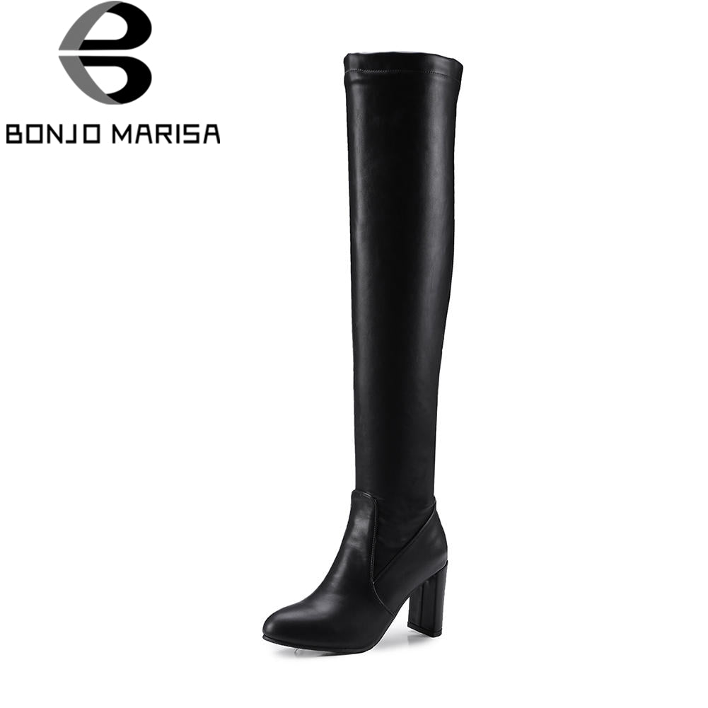 BONJOMARISA Black slip-on Knight Boots Women Over Knee Thich High Boots Women Autumn women's 8 Cm High Heels Shoes Woman 32-48