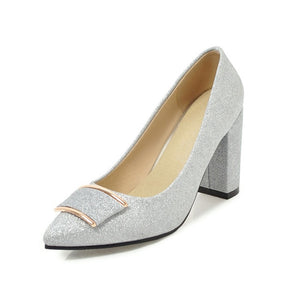 BONJOMARISA [Big Size] Square High Heels Party Wedding Office Bling Synthetic Shoes