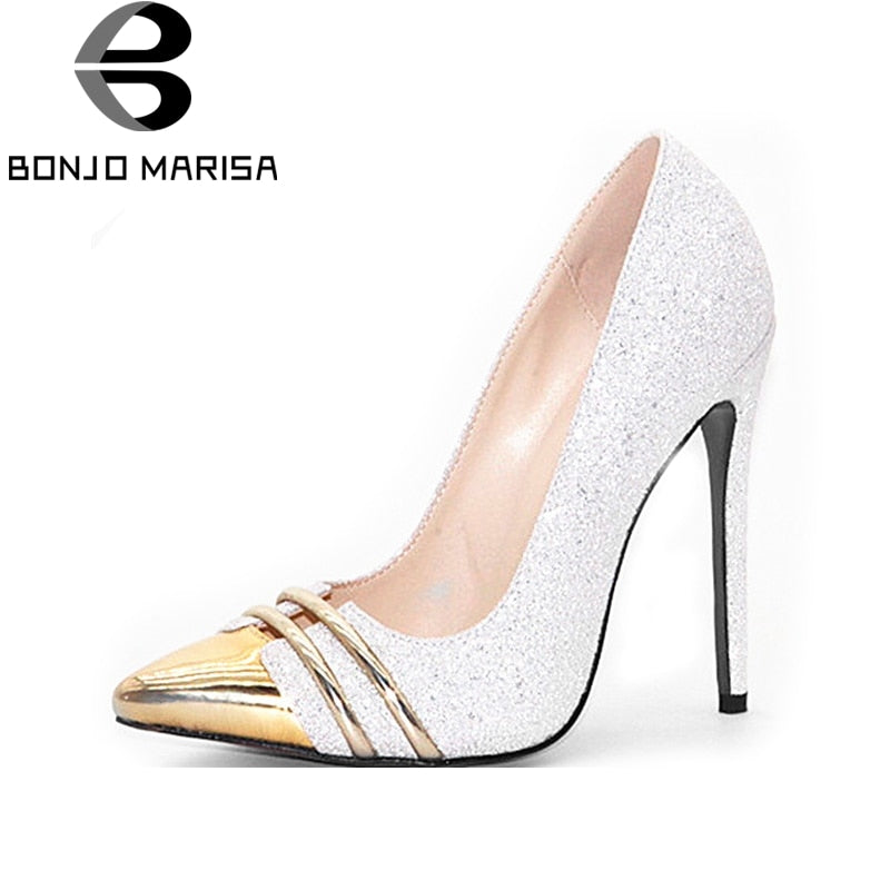 BONJOMARISA [Big Size] Sexy Gold Shining Glitter Pointed Toe Thin High Heel Shoes