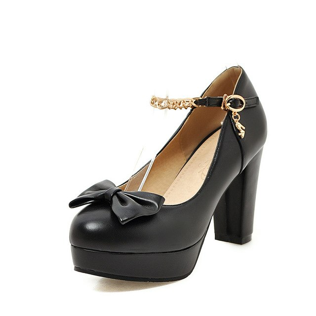 BONJOMARISA [Big Size] Metal Chains Sweet Bowtie Round Toe Platform Mary Jane Shoes