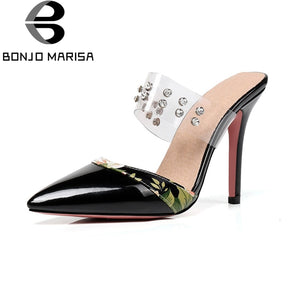 BONJOMARISA [Big Size] Thin High Heels Pointed Toe Metal Decoration Shoes
