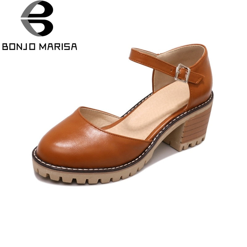 BONJOMARISA [Big Size] Ankle Strap Square High Heels Solid Round Toe Platform Shoes