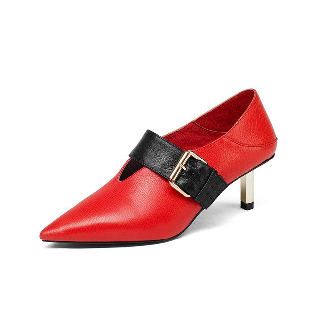 BONJOMARISA Genuine Leather Belt Buckle Thin Med Heels Pointed Toe Shoes