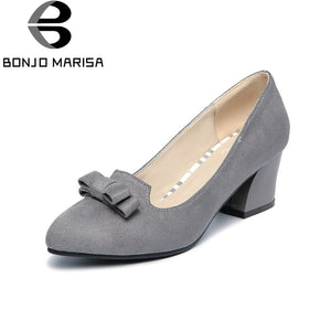 BONJOMARISA [Big Size] Bowtie Chunky Heels Quality Shoes