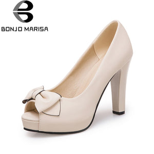 BONJOMARISA [Big Size] Sweet Bowtie Knot Party Wedding Shoes