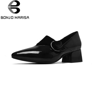 BONJOMARISA [Big Size] Patent Leather Square Med Heels Pointed Toe Buckle Shoes