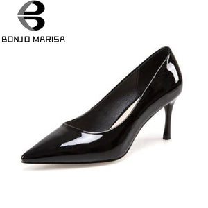 BONJOMARISA [Big Size] Slip On Party Wedding Office High Heel Shoes