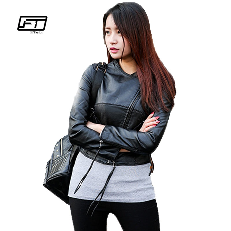 Autumn Winter Women Faux Pu Leather Jacket