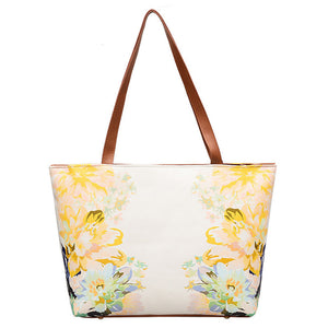 Girls Women Leather Vintage Flower Painting Bag Shoulder Bag Handbag