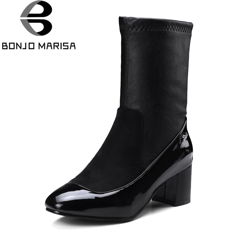 BONJOMARISA Plus Size 32-48 Fashion mid-calf Sock Boots Women Soft women's Shoes High Heels Shoes Woman Short Plush Footwear