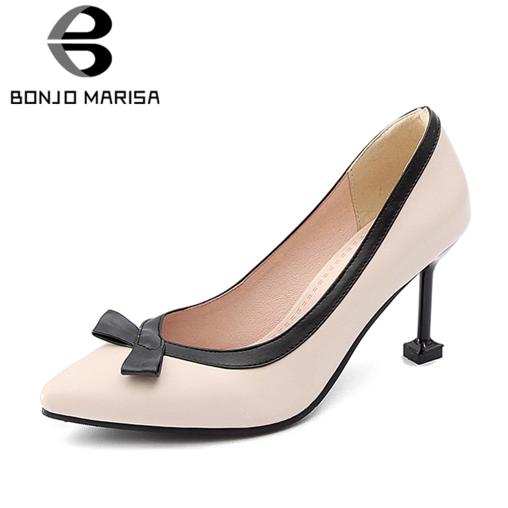 BONJOMARISA Brand New [Big Size] Thin High Heels Woman Pumps Sexy Mixed Colors Party Wedding Shoes