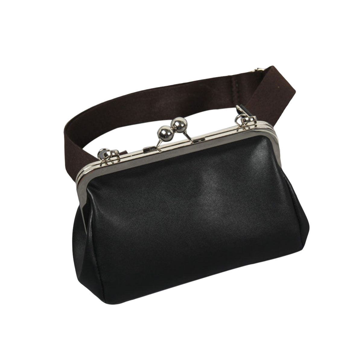 High Quality Women Messenger Bags Casual Wide Shoulder Straps Bag PU Leather Female Metal Clip Bag