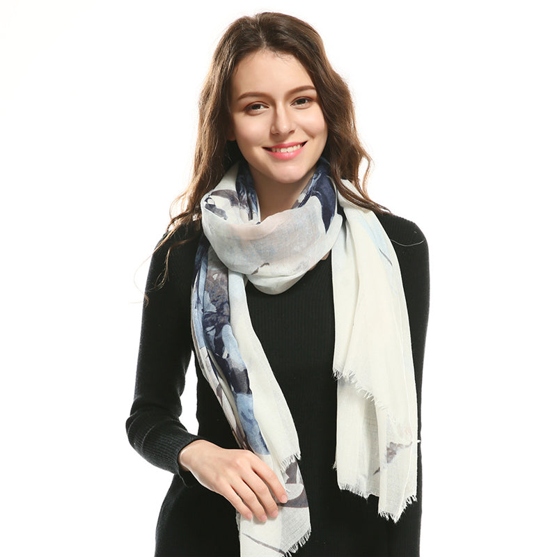 Summer&Autumn New Arrival Fashion Women Long Scarf White SImple Stylish Floral Print Shawl Wraps Sun Protection Beach Sunscreen
