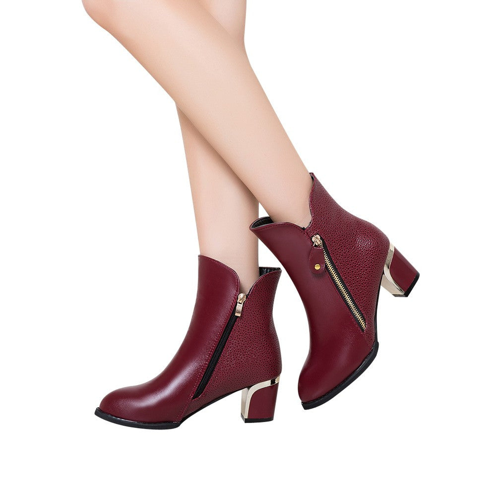 Fashion Bare Boots Thick Heel Pumps England Martin Boots Pointed Women's Shoes