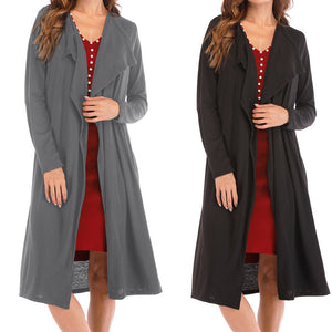 Women's Fashion Solid Long Sleeve Coat