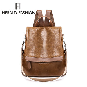 Herald Fashion Leather Backpack Women Vintage College Girls Student School Bags Mochila Casual Travel Female Rucksack Backpack