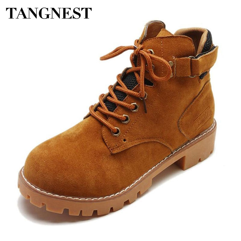 Tangnest NEW Women's Ankle Boots Autumn Suede Leather Lace Up Western Boots Casual Chunky Heel Boot Wedge Shoes Size 35~40