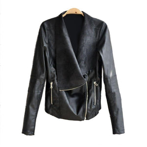 PU Leather Jacket Black Motorcycle Coat