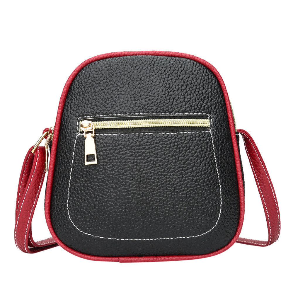 Vintage Women Hit Color Zipper Leather Crossbody Bag Phone Bag Shoulder Bag