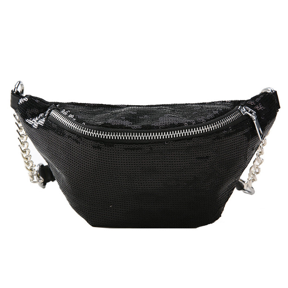 Women Fashion Sequins Leather Messenger Bag Shoulder Bag Chest Bag