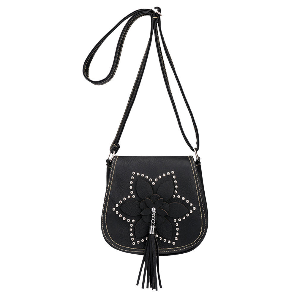 Vintage Women Flowers Tassel Leather Crossbody Bags Messenger Shoulder Bag
