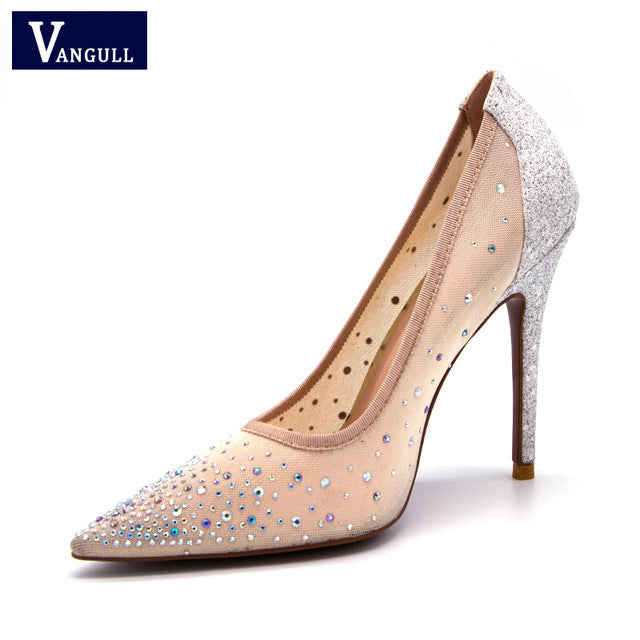 VANGULL New Silver Bling Fashion Women's High Heel Party Wedding Stiletto Shoes