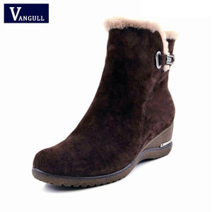 VANGULL Sheep Suede Fur Plush High Quality Genuine Leather Footwear Ankle Boots