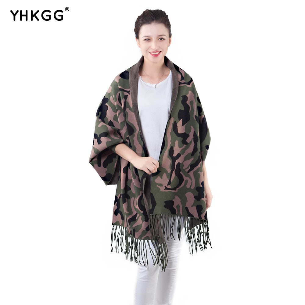 Women Scarf Winter Women Scarves Long Wrap Shawl Thick Warm Cotton Cashmere Wool Poncho Camo Women's Scarf Cape with Sleeves