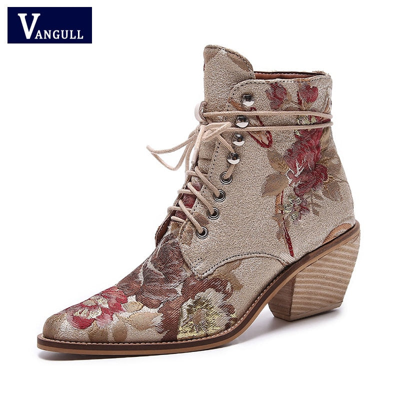 Women's Embroidery Lace Up Thick High Heel Wedding Party Ankle Boots