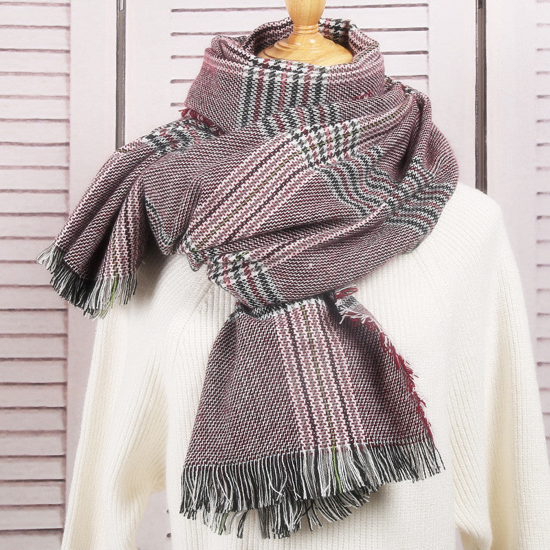 Women's Fall Winter Scarf Classic Tassel Plaid Scarf Warm Soft Chunky Large Blanket Wrap Shawl Scarves
